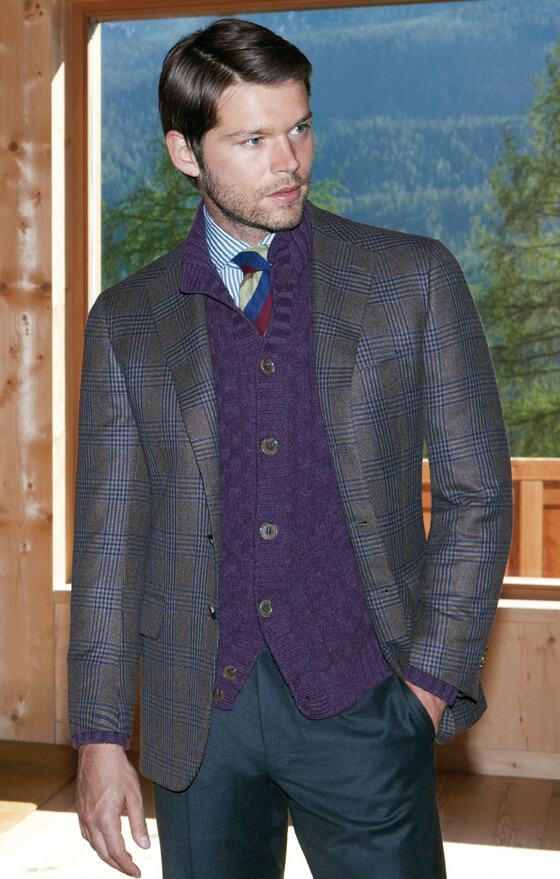Men's suit with blanket pattern