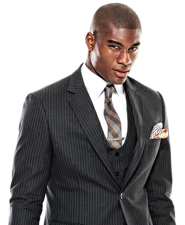 Men's three piece suit with pinstripe pattern