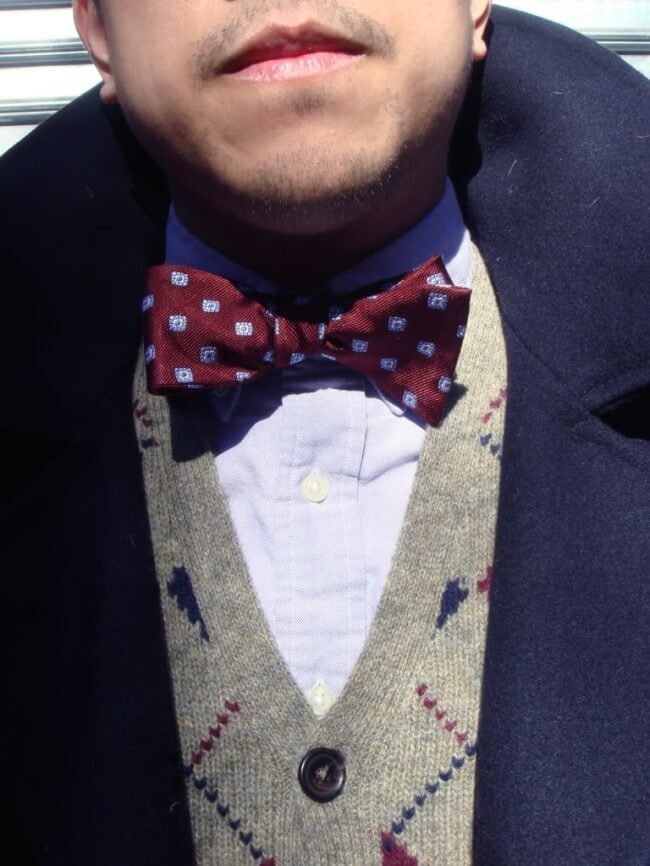 A patterned bow tiw + waistcoat.
