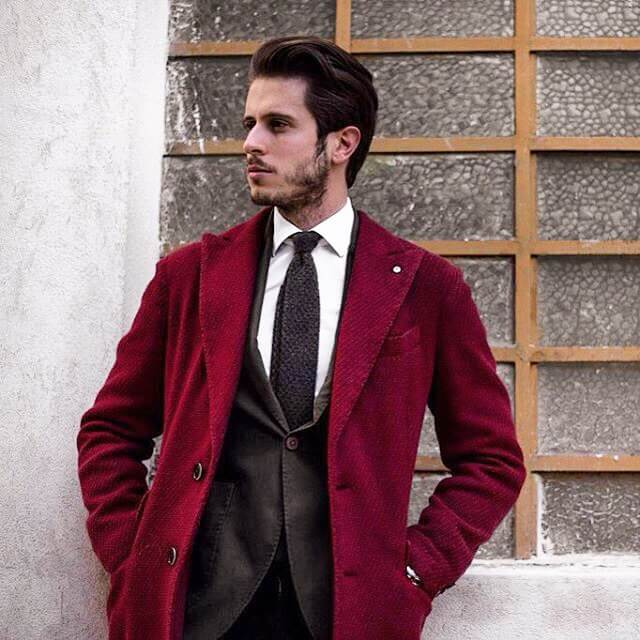 Maroon coats with pocket square