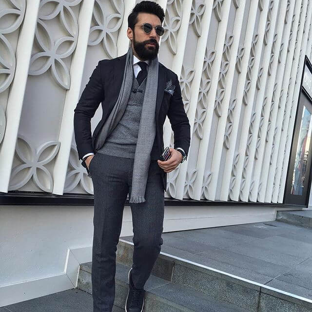 Grey with black