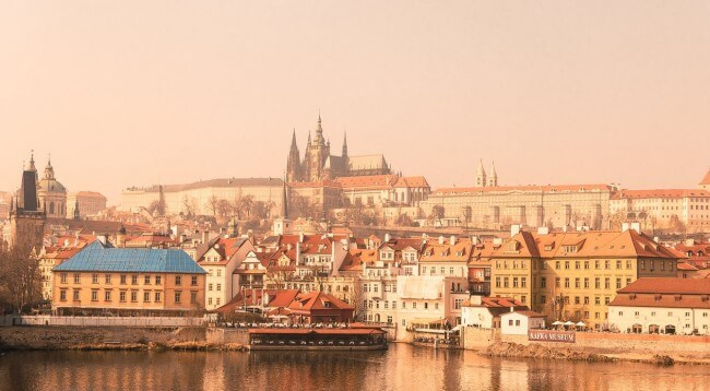 prague skyline with filter