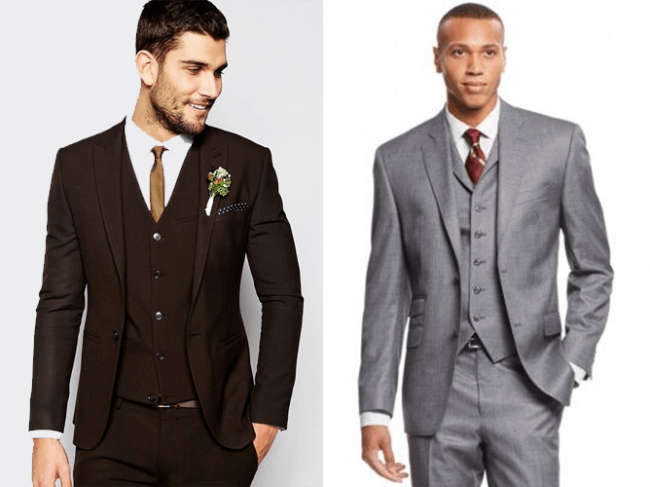 dark brown suit or medium gray suit