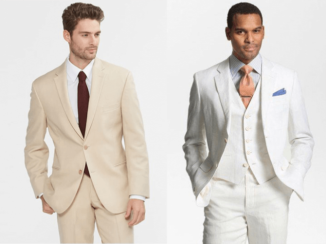 light brown or tan khaki suit vs white suit