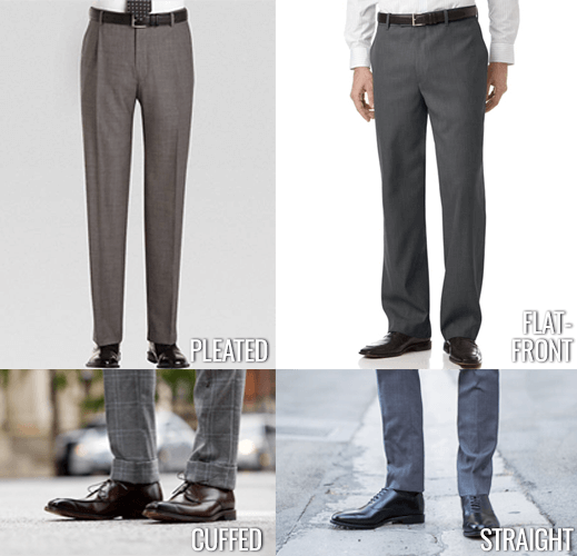 pleated vs flat front pants, cuffed vs straight leg