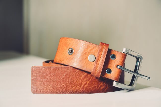 a curled up leather belt